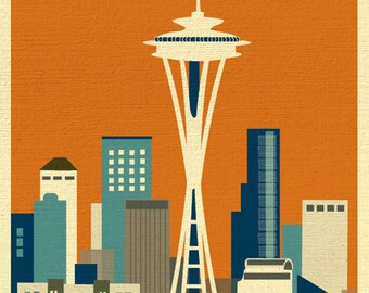 Seattle Skyline Art Map Print, Emerald City, Seattle Nursery, Seattle Retro Travel Poster, Vertical Loose Petals City Print - style E8-O-SE1