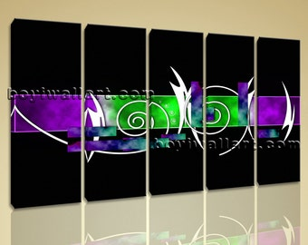 """Large 5 Panels Modern Abstract Painting Hd Print On Canvas Wall Art Home Decor, Abstract wall decor,  giclee print, 54""""x32"""""""