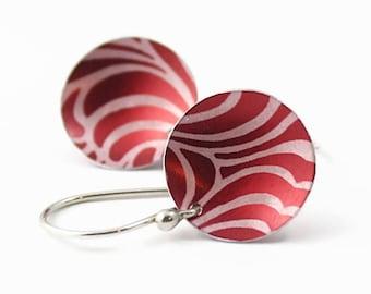 Red Disc Earrings, Anodized Aluminum, Swirl Pattern, Handmade Argentium Earwires