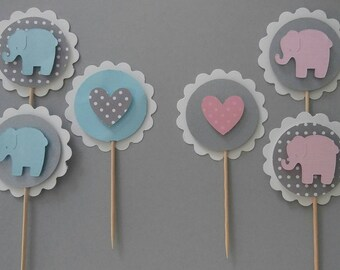 Baby Elephant Cupcake Toppers | Baby Shower | Birthday |Party | Birthday Party