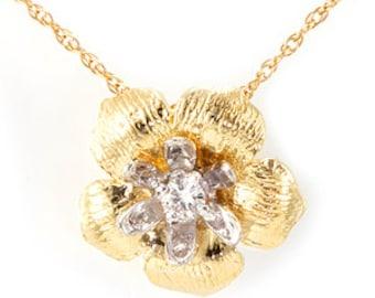 Diamond Flower Design Pendant, 14K 2 tone Ladies Pendants, Ladies Fine Jewelry