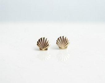 Teeny Tiny Gold Seashell Earrings. Small Scallop Shell. Beach Fashion. Simple Modern Jewelry by PetitBlue