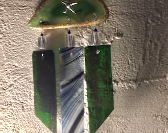 Green Agate and Black & White Baroque Mobile