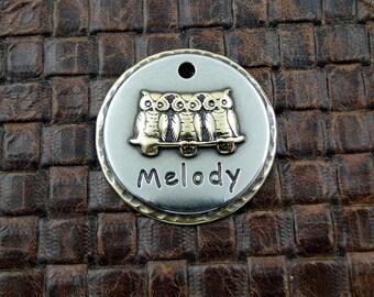 Personalized Owls Dog ID Tag-Dog Collar ID Tag-Pet ID Tag-Owls Keychain Fob or Luggage Tag