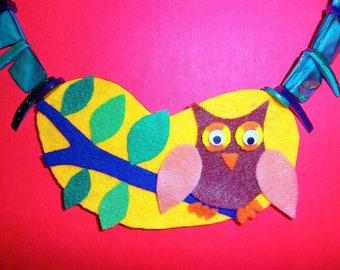 Fabulous Felt Night Owl Necklace