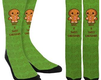 Gingerbread Christmas Crew Socks -Holiday Socks -Cookie Socks -Christmas Socks -Unique Socks -Novelty Socks - Cool Socks - FREE Shipping D60