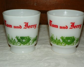 Two Hazel Atlas Colonial Tom and Jerry Eggnog Punch Bowl Cups Replacements 1950's