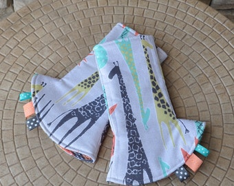 SALE - Tropical Tower Drool Pads and Hood (with ribbon pulls)
