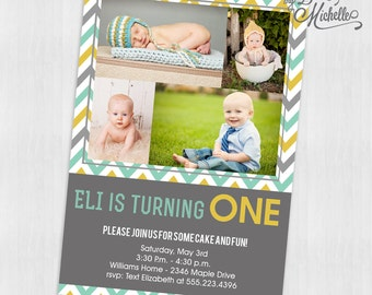 Multiple Picture Boy First Birthday Party Invitation - Digital File You Print