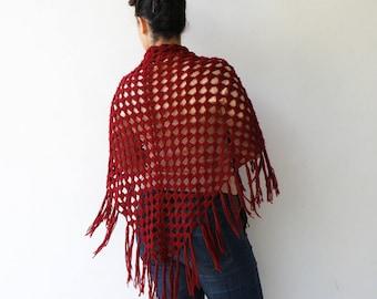 Vintage Maroon Crochet Shawl /1970s Wool Shawl