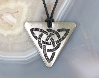 Trinity Knot Triquetra Pendant Stainless Steel Etched - Unity of Mind, Body, Spirit - Solid Design