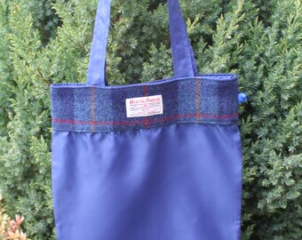 Foldable shopping bag with navy check Scottish Harris Tweed   Reuseable fold away tote shopping bag   Compact fold up shopper