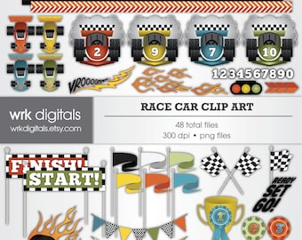 Race Car Clip Art Digital Pack, Digital Scrapbooking, Instant Download