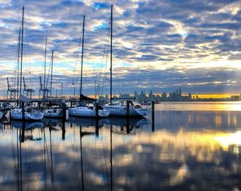 Sunrise -Williamstown Pier, Melbourne, Australia, boats, sails, bayside, city view, Fine Art Photography