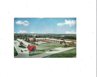 1960s Howard Johnson Postcard, Motor Lodge or Motel, Hickory, North Carolina, Artist's Rendition, Unposted, Rowan Printing, Travel Souvenir