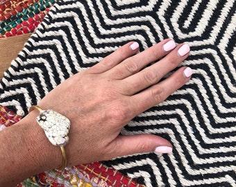White Magnesite Cuff Bracelet