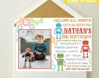 Robot Photo Invitation / Robot Birthday Invitation / Robots Invite / Let's Go Nuts / Robot Birthday / Robots / Calling All Robots / Robotic