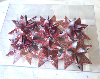 Moravian Paper Star Ornaments ~Holiday Red Filigree (3 inch)