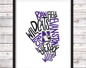 Northwestern University | Printable Art | College Student Gift | College Graduation | Dorm Room Decor | Wall Art | Wall Decor