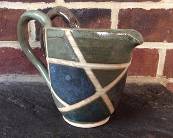 Green Ceramic Pitcher with Color Blocks - Handmade