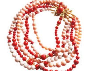 Triple Strand Coral Necklace Vintage 1960 Nina Ricci