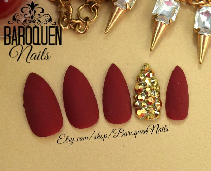 Matte Maroon Burgundy Press On Nails Gold Accent Nail Fake