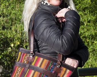 Andes purse, handbag pattern Rainbow woven aguayo handbag purse handmade leather and Peruvian weaving, bag