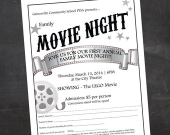 Custom Printable Family OR Mother/Son Movie Night School Or Church Flyer,  PTO Flyer