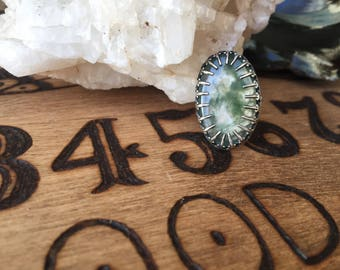 into the trees - moss agate ring with sword bezel