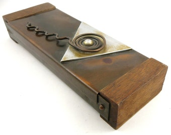 Extremely RARE Vintage 1950s Francisco REBAJES Original Design Mixed Metals Copper & Wood Mid Century Modernist BOX