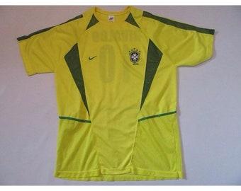 Vintage Nike White Tag Rivaldo Brazil Soccer Jersey sz XL Yellow FIFA 90s