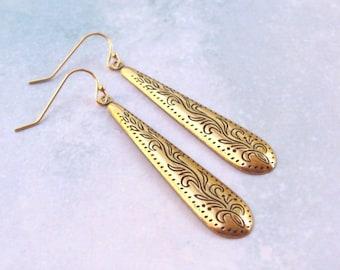 Gold Victorian Earrings, Long Drop Earrings, Dangle Earrings, 14k gold filled, hooks, etched, vintage style, spring, gold earrings