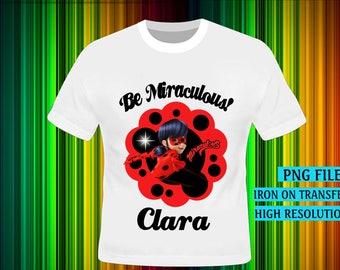 Miraculous Ladybug, Miraculous Ladybug Iron On Transfer, Ladybug Birthday Shirt DIY. Girl Birthday Shirt DIY, Ladybug Party , Digital Files