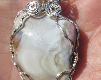Mozarkite  Cabochon wire wrapped pendant in Argentium Sterling Silver