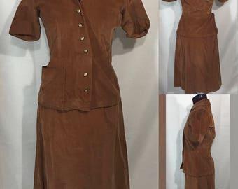 1940's | Skirt Suit | Brown Corduroy