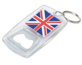 keyring double sided bottle opener- . - acrylic and steel new keychain key ring , with union flag / commonly called union jack on both sides