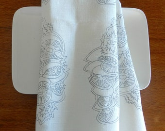 Banksia design handprinted in soft grey on natural ecru or off white linen. Will complement all kitchen types, contemporary and traditional.