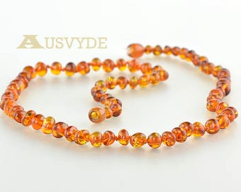 Baltic amber necklace, Baroque amber beads, Baroque necklace, Amber necklace, Cognac color, 45 cm or 17,7 inch. 5764