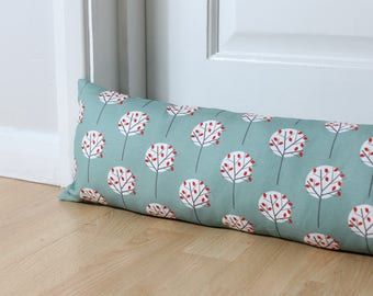 Draught Excluder Moonlight Tree Pattern Sea Green Fabric Scandinavian Print Door Draught Stopper Window Scandi Home UK