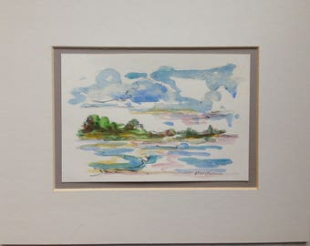 Maine Art - Maine Island - End of Summer - Original Acrylic & Pencil on Paper - 8x10 Mat