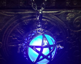 Glowing star necklace, Glowing Pentagram pendant, locket with glowing LED orb, Magick ( Pick your color )