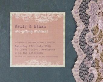 Blush Vintage Lace Personalised Wedding Invitation