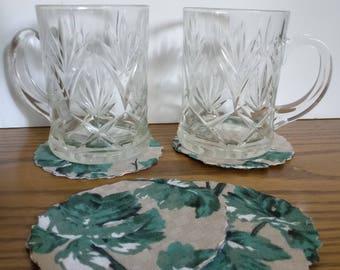 Handmade Round Fabric Drink Coasters, SET OF 4, Green Plants on Beige