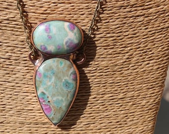 ruby in fischite and recycled copper - pendant necklace - ruby in fuchsite