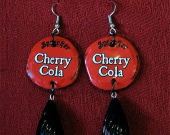 Recycled bottle cap earrings,Red and black bottle cap earrings,Upcycled bottle caps