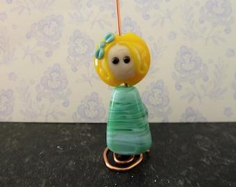 Lampwork glass fairy bead, green novelty focal
