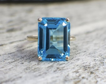 14K Topaz Octagon Emerald Cut Statement Ring