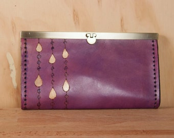 Leather Checkbook Wallet -  Clutch Wallet - Womens Wallet - Rain pattern with modern raindrops in purple and gold