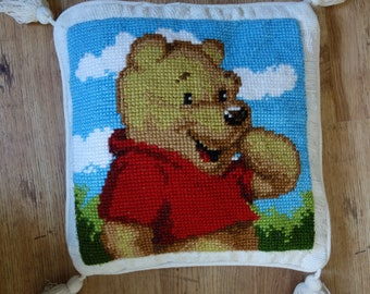 vintage winnie tthe pooh needlepoint cushion cover 17x17 inches