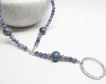 Beaded Lanyard in Blue Denim Lapis - ID Holder Lanyard - Blue Glasses Lanyard - Eyeglasses Lanyard - Badge Holder Lanyard - Glasses Necklace